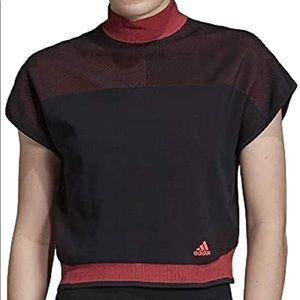 Adidas PK LTE Crop Workout Top Red Black NWT